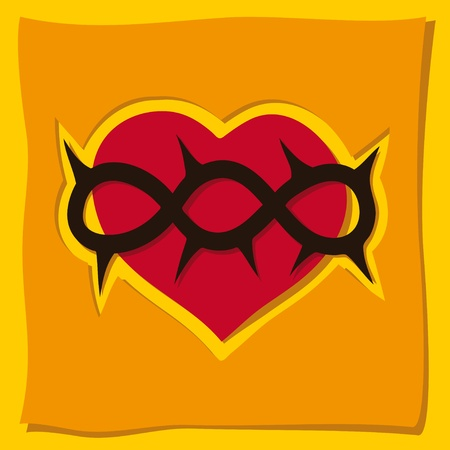 thorn: heart, a Christian symbol Illustration