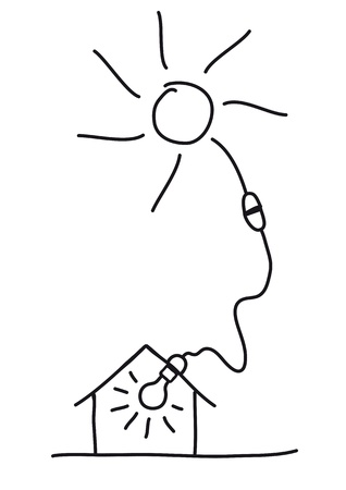 light source: solar energy Illustration