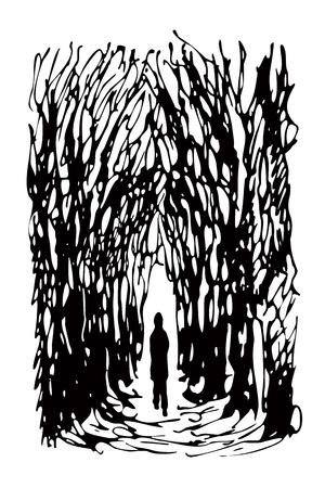 miedoso: hombre solo