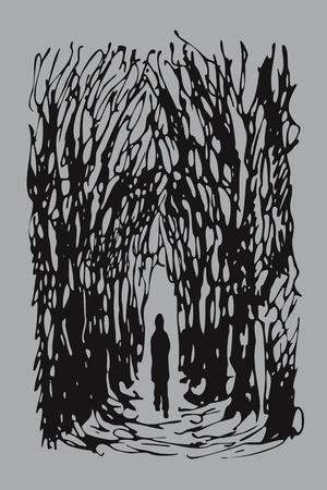 walking away: man alone
