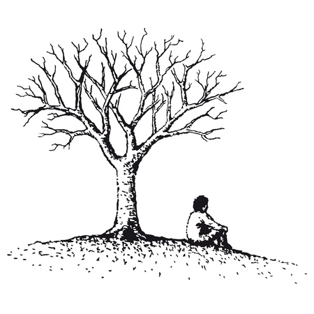 meditation man: Man sitting Illustration