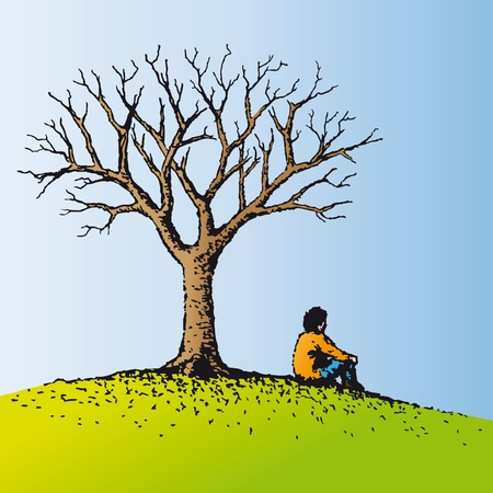 alone person: Man sitting Illustration