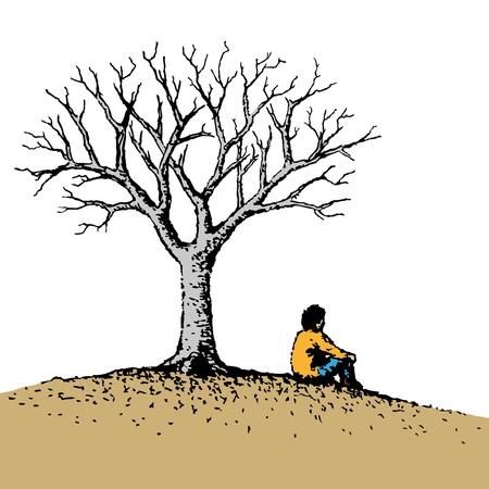 サイレント: 座っている人  イラスト・ベクター素材