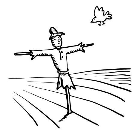 espantapajaros: Espantapájaros y pájaro Vectores