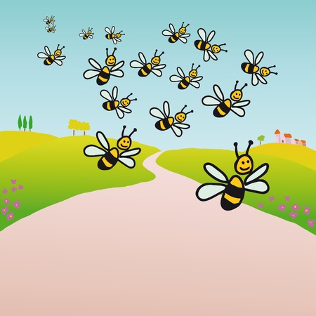 bee swarm: Bees in the countryside