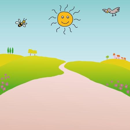 Bee and bird Vector