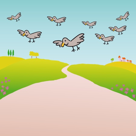 Birds in the countryside Stock Vector - 10736808