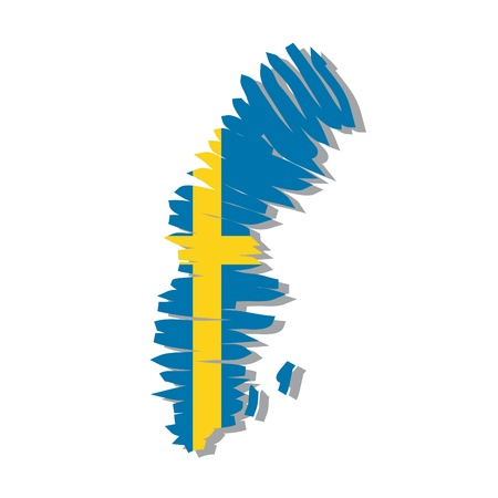 sweden flag: map flag Sweden