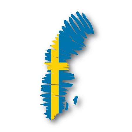 map flag Sweden Stock Vector - 10736867