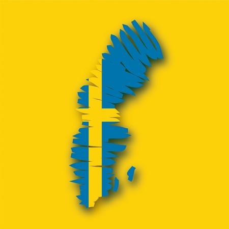 map flag Sweden Vector