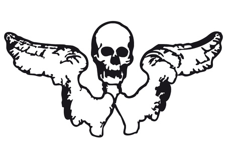 dying: winged skull