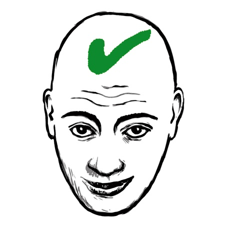 bald head: face selected Illustration