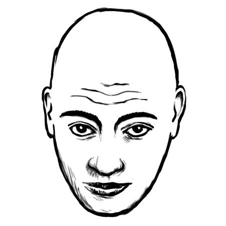 hombre calvo: cara calva Vectores