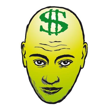 bald head: face and dollar