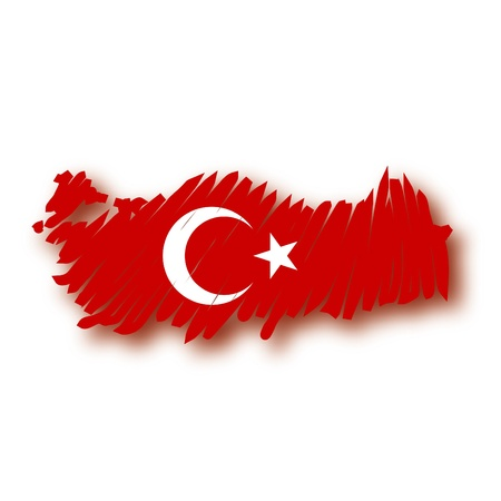 turkish flag: map flag Turkey Illustration