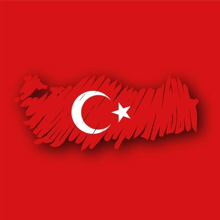 map flag Turkey Vector