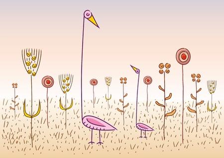 vreemde vogels Vector Illustratie