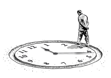 人間と時間  イラスト・ベクター素材