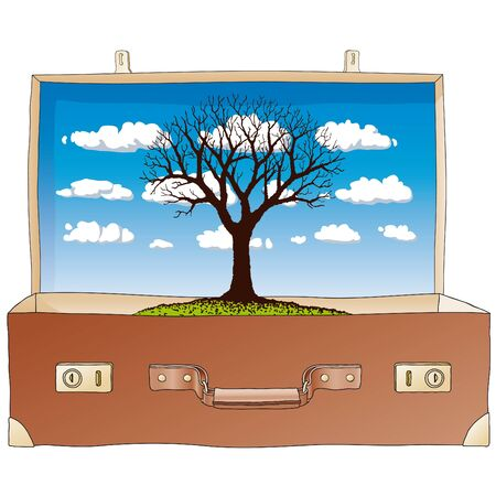 nature in suitcase Vector