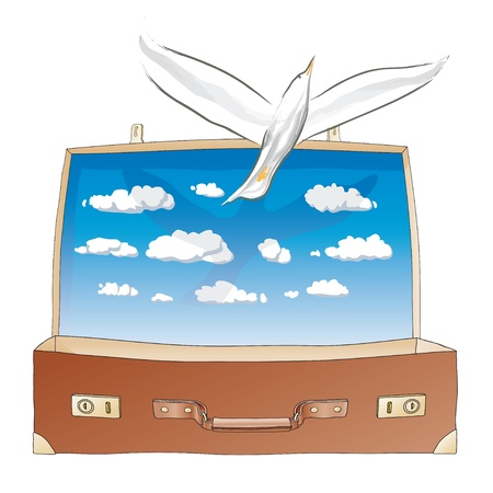 surrealistic: dove in the suitcase Illustration