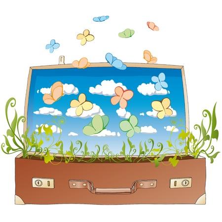 metamorphosis: butterflies in suitcase