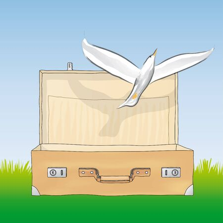 vectorial: dove in the suitcase Stock Photo