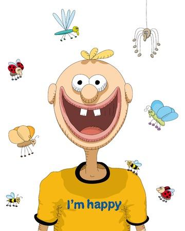 cartoon spider: happy person Illustration