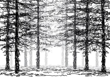 森の中  イラスト・ベクター素材