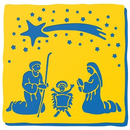 crib: Christmas crib Illustration