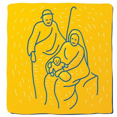 family praying: Navidad cuna