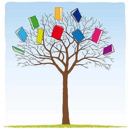 ツリー上の書籍  イラスト・ベクター素材