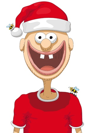 character with christmas hat Stock Vector - 11283489