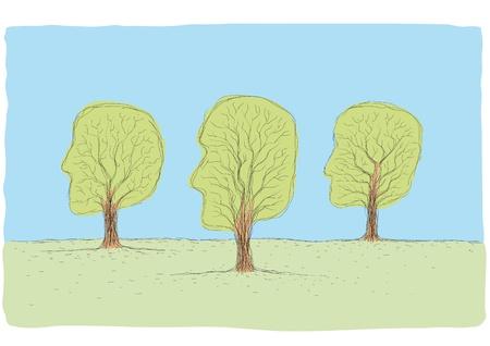 tree-shaped head Vector