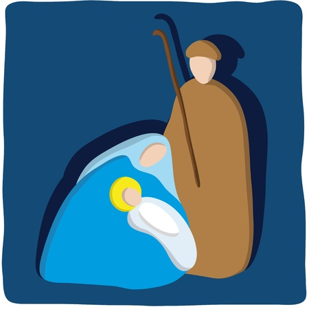jesus praying: Christmas crib Illustration