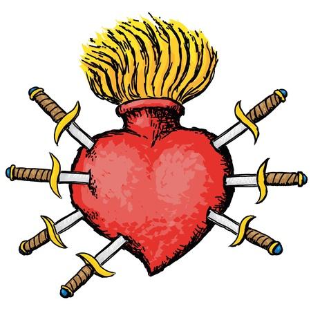 stabbed: dolor en el coraz�n Vectores
