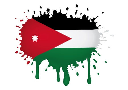 Vlag van Jordanië schetsen Stock Illustratie