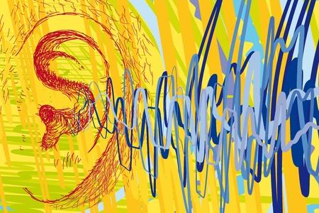 and sound: del o�do y las ondas de sonido Vectores
