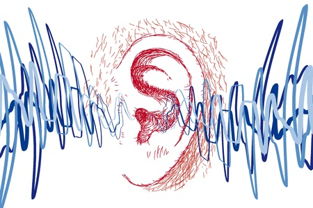 listen to music: ear and sound waves Illustration