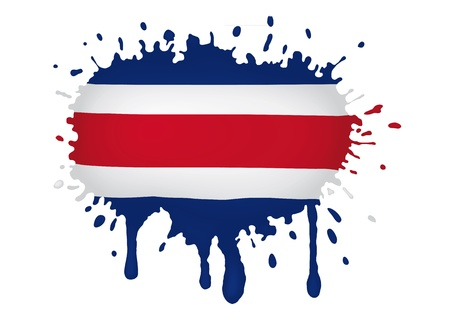 Costa Rica sketch flag Vector
