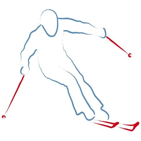 ski�r: skiër Stock Illustratie