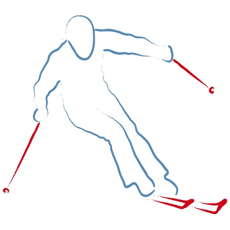 skieer: skiër Stock Illustratie