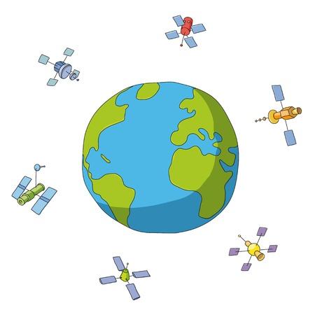gravedad: mundo y satélites Vectores