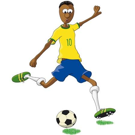 futbol soccer dibujos: jugador de fútbol brasileño Vectores