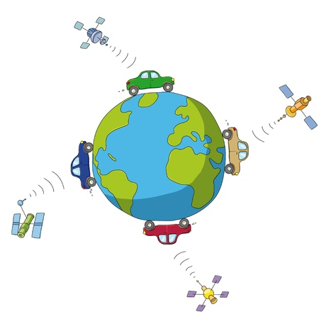 cars and satellites Stock Vector - 12813207