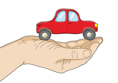 car in your hand Vector
