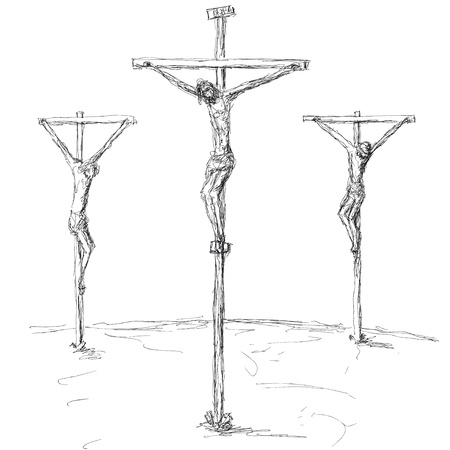 crucified: crucifixion Illustration