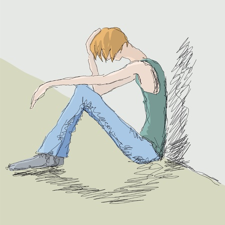marginalization: sad man