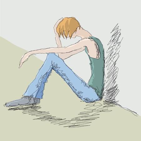 homelessness: uomo triste Vettoriali