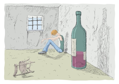 ubriaco: uomo triste Vettoriali