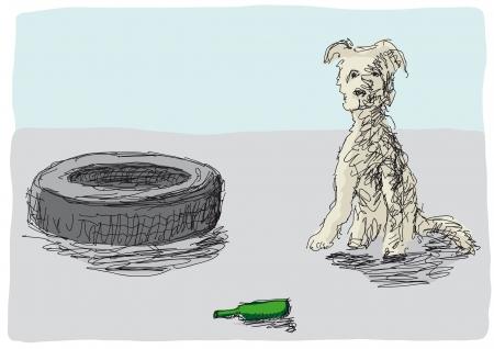 unattended: abandoned dog